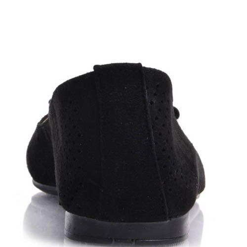Балетки Prego замшевые черные с перфорацией и лаковым бантиком, фото