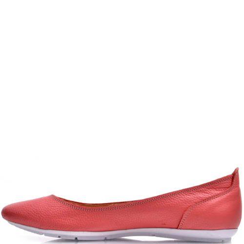 Балетки Prego кожаные красного цвета со спортивной подошвой, фото