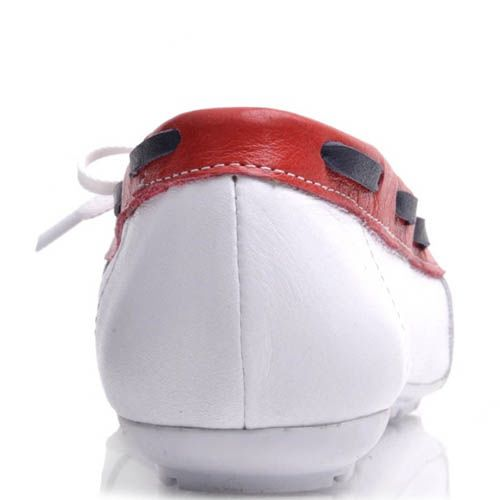 Топсайдеры Prego женские белого цвета с красной вставкой кожаные, фото