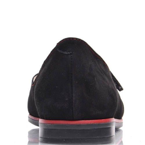 Мокасины Prego черные замшевые с красными строчками, фото
