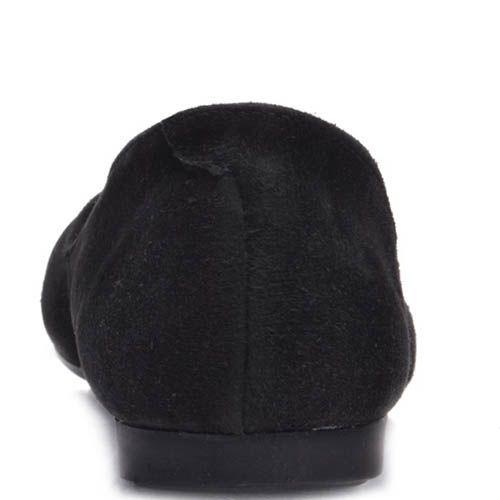Балетки Prego замшевые черного цвета с декоративным ремешком на носочке, фото