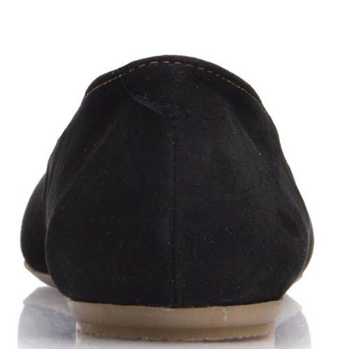 Балетки Prego замшевые черного цвета с бантиком, фото