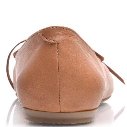 Балетки Prego кожаные коричневого цвета с бантиком, фото