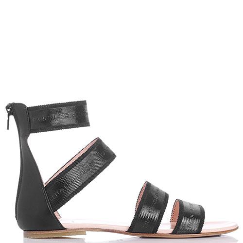 Сандалии Elisabetta Franchi черного цвета на молнии сзади, фото