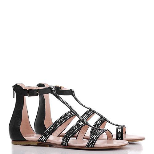 Черные сандалии Elisabetta Franchi с фирменным принтом, фото