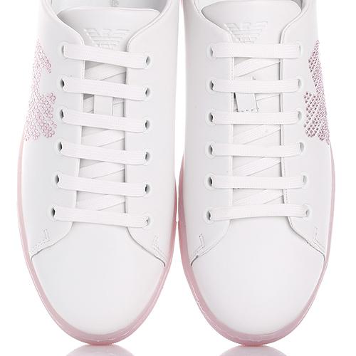Белые кеды Emporio Armani с розовыми стразами, фото