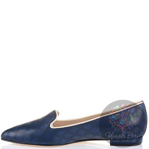 Слиперы Essere с узкими носками кожаные с перекрестной ромбами перфорацией темно-синие с тонким бежевым кантом, фото