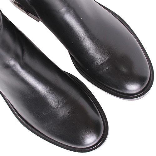 Ботинки Casadei черного цвета с металлической вставкой на пятке, фото