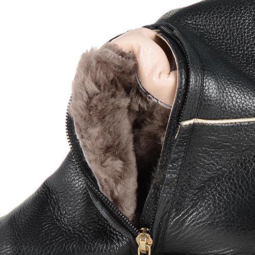 Кожаные сапоги Giorgio Fabiani черного цвета со светлым отделочным кантом, фото