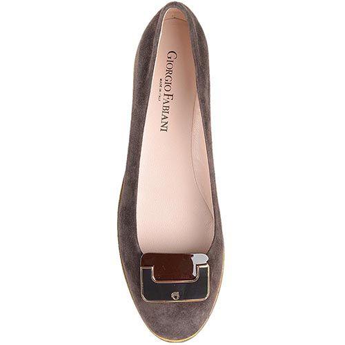 Балетки Giorgio Fabiani коричневого цвета с брендированной пряжкой, фото