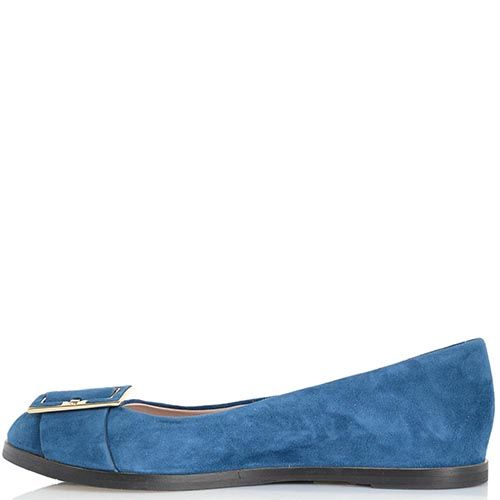 Синие замшевые балетки Giorgio Fabiani с декором-ремешком на носочке, фото