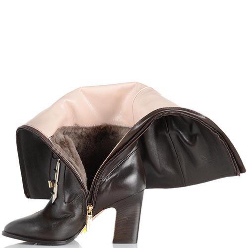 Сапоги Giorgio Fabiani коричневого цвета с имитацией шнуровки, фото