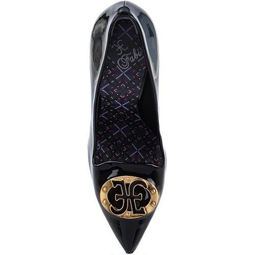 Женские туфли FABI черного цвета из лаковой кожи с брендированной фурнитурой, фото