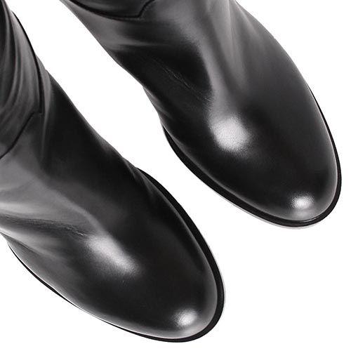Сапоги Casadei черные высокие с пряжкой, фото