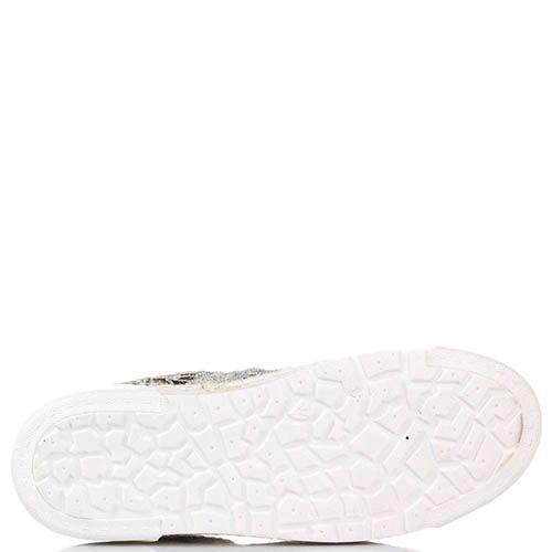 Слипоны на шнуровке The Seller Julie Dee из текстиля с серебристым кружевом , фото