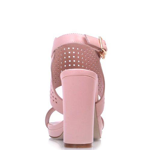 Босоножки Prego из натуральной розовой кожи с перфорацией и ремешком, фото