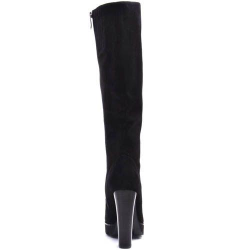 Сапоги Prego зимние замшевые черного цвета с каблуком высотой 12 см, фото