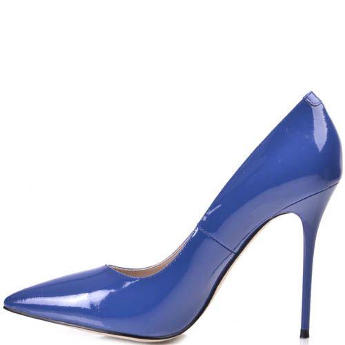 Туфли-лодочки Prego на шпильке синего цвета лаковые, фото