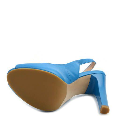 Кожаные босоножки Prego синего цвета на шпильке, фото