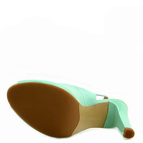 Кожаные босоножки Prego мятного цвета на шпильке, фото