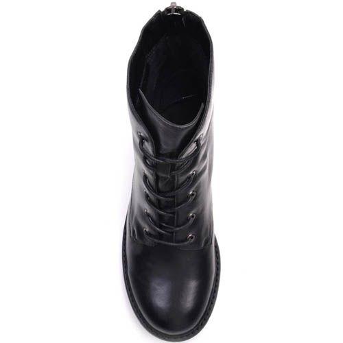 Ботинки Prego черного цвета со шнуровкой и молнией сзади, фото