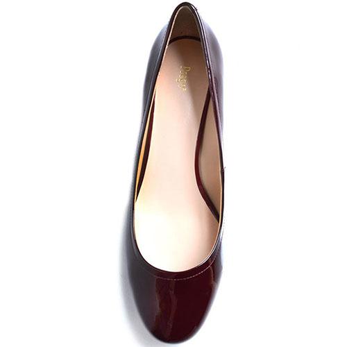 Туфли из лаковой кожи Prego бордового цвета с перфорацией на каблуке, фото