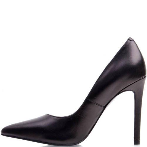 Туфли-лодочки Prego черного цвета с узким носком кожаные, фото