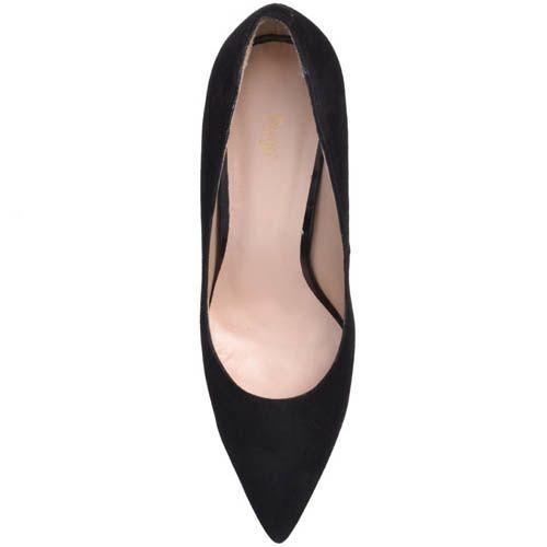 Туфли-лодочки Prego замшевые черного цвета с замшевым каблуком и с узким носком, фото