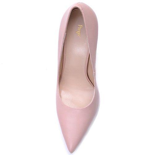 Туфли-лодочки Prego из светло-розовой кожи на высокой шпильке, фото