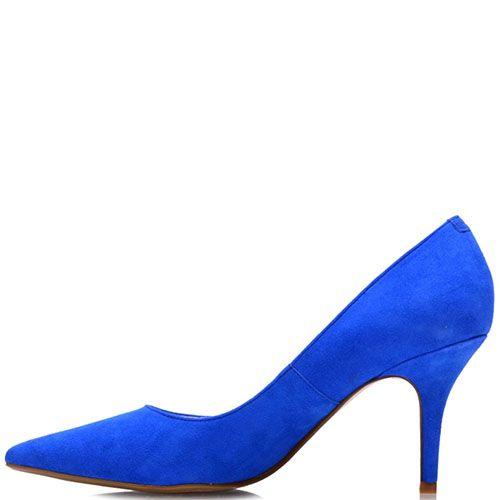 Замшевые туфли Prego яркого синиего цвета на шпильке, фото