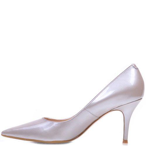 Кожаные лаковые туфли Prego серебристого цвета, фото