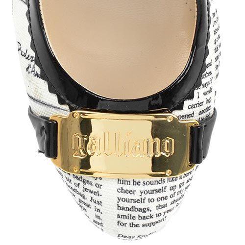 Туфли Galliano из кожи и текстиля с газетным принтом на высоком каблуке, фото