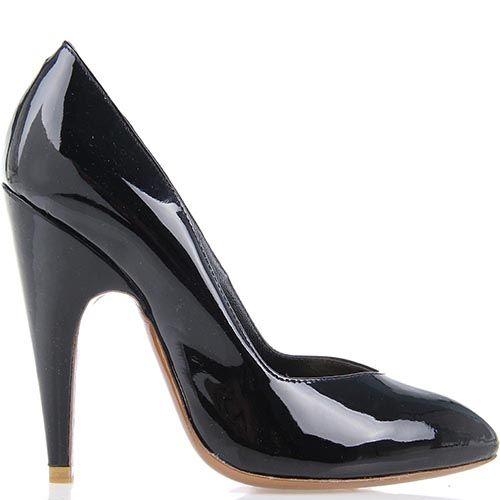 Черные лаковые туфли Giordano Torresi Germania на высоком каблуке, фото