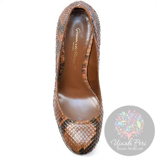 Туфли Gianvito Rossi на шпильке роскошные со змеиным принтом, фото