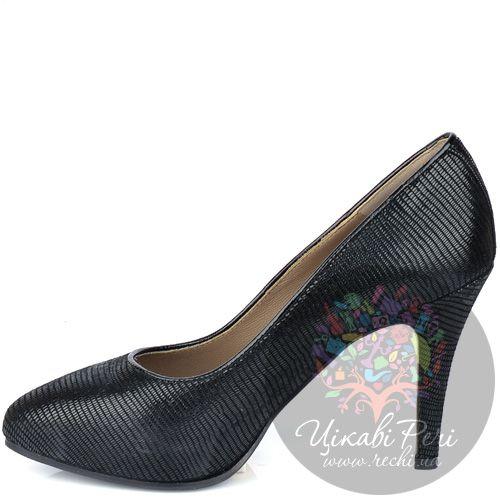 Туфли Giorgio Fabiani черные из стилизованной под змеиную кожу замши, фото