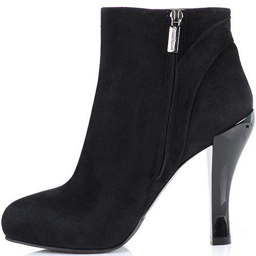Замшевые ботинки Giorgio Fabiani из черной замши с округлым носком, фото
