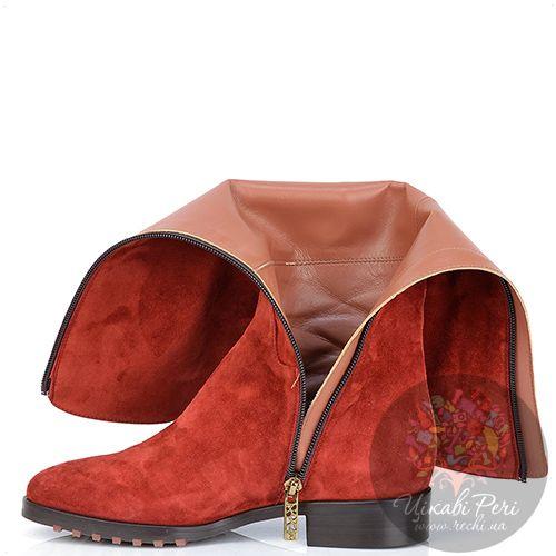 Сапоги Giorgio Fabiani осенние красные замшевые на низком удобном каблуке, фото