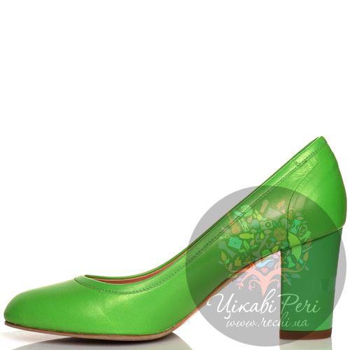 Туфли Giorgio Fabiani кожаные зеленые на среднем толстом каблучке, фото