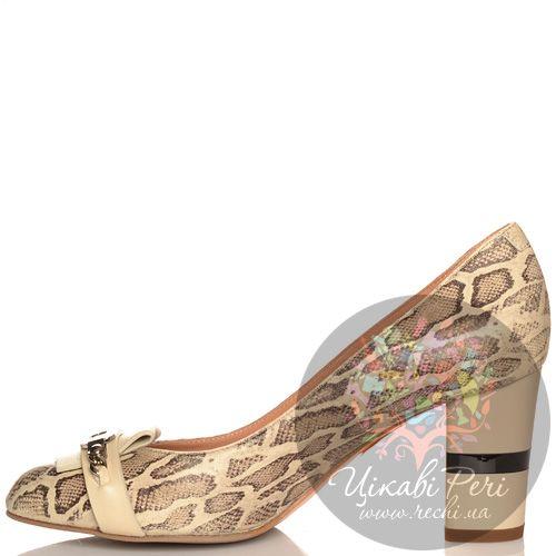 Туфли Giorgio Fabiani кожаные бежевые с принтом Питон, фото