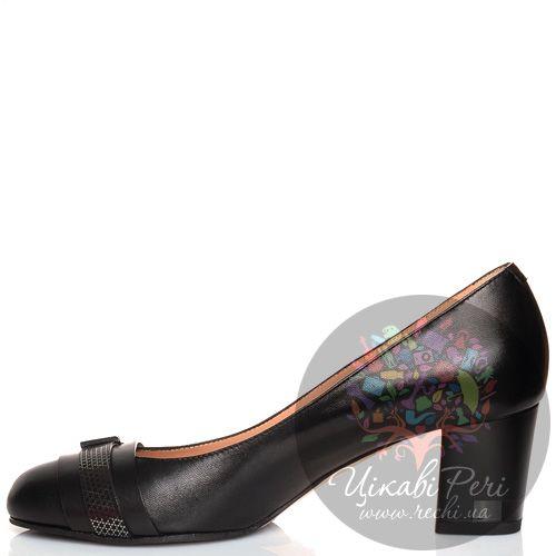 Туфли Giorgio Fabiani с пряжкой кожаные черные на низком каблучке, фото