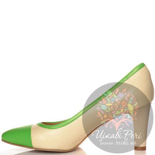 Туфли Giorgio Fabiani кожаные зелено-бежевые на среднем каблуке, фото