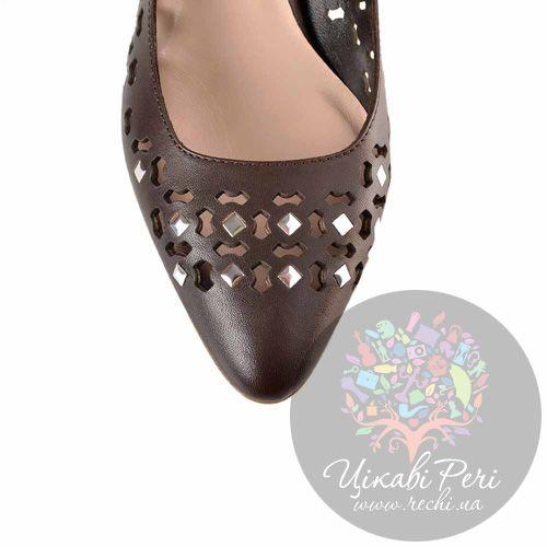 Туфли Giorgio Fabiani темно-коричневые кожаные с ажурной перфорацией, фото