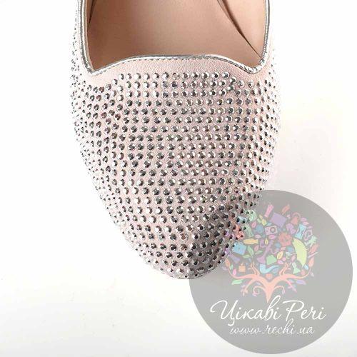 Туфли Giorgio Fabiani кожаные пудрово-серебристые с декором в виде страз из металла, фото