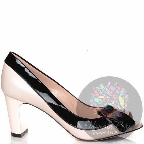 Туфли Giorgio Fabiani кожаные пудровые с лаковой черной отделкой, фото