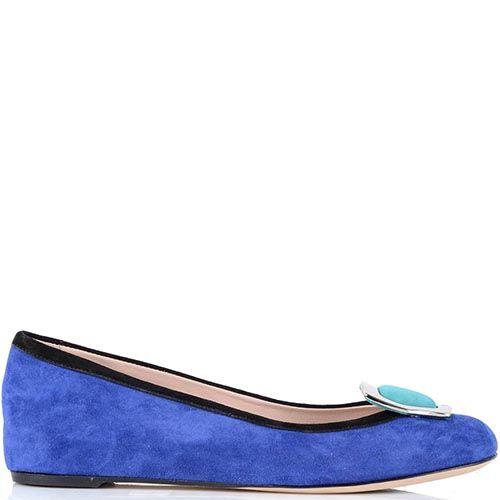 Замшевые туфли Giorgio Fabiani насыщенно-синего цвета с пряжкой из голубой замши, фото