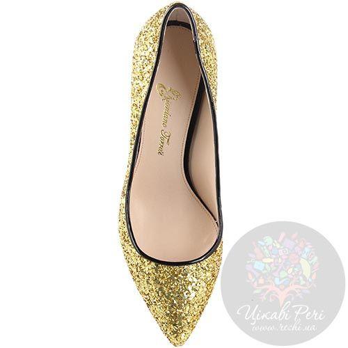 Туфли-лодочки Giordano Torresi с золотыми блестками на низком каблуке, фото