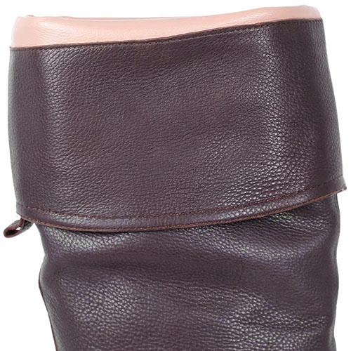 Высокие сапоги Massimo Santini из натуральной кожи коричневого цвета, фото
