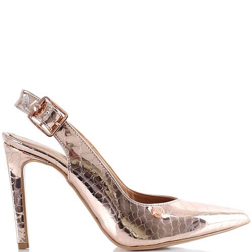 Золотистые туфли Love Moschino с открытой пяткой на высокой шпильке, фото