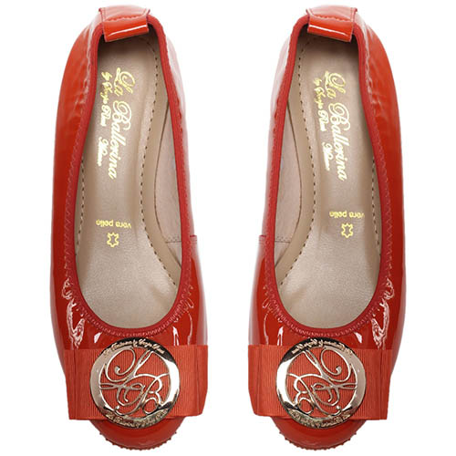 Балетки из лаковой кожи красного цвета La Ballerina с бантом, фото