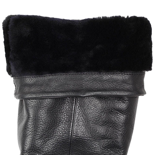 Зимние сапоги The Seller Jullie Dee из крупнозернистой кожи черного цвета на толстой подошве, фото
